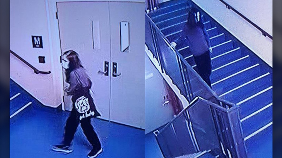 Surveillance images of Melissa Graham making her way to the exit of the Foothills Medical Centre on Sunday morning. (supplied)