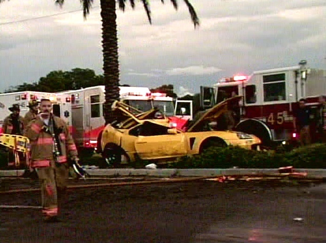 The Toyota Supra Driven By Nick Bollea Sits Destroyed In Downtown Clearwater Fla