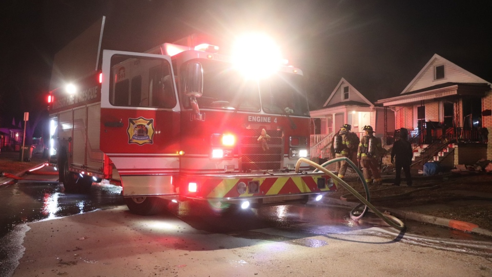 Windsor fire crews on scene at a house fire in the 900 block of Bridge Avenue in Windsor, Ont. on Sunday, March 7, 2021. (courtesy OnLocation)
