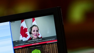 Minister of Finance Chrystia Freeland is pictured on a clerks computer screen as she rises virtually during question period in the House of Commons on Parliament Hill in Ottawa on Thursday, Feb. 4, 2021. THE CANADIAN PRESS/Sean Kilpatrick