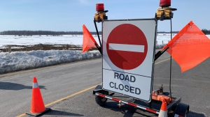 A road closed sign at the scene of a crash in Stratford on March 8, 2021. (Stephanie Villella / CTV Kitchener)
