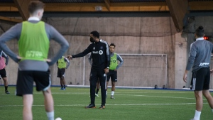 Coach Wilfried Nancy is shown at during CF Montreal practice in Montreal on Tuesday, March 2, 2021. THE CANADIAN PRESS/HO - CF Montreal