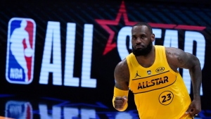 LeBron James at basketball's NBA All-Star Game in Atlanta, on March 7, 2021. (Brynn Anderson / AP)