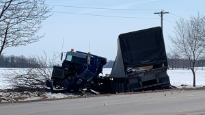 A transport truck after a serious crash on the outskirts of Stratford on March 8, 2021. (Stephanie Villella / CTV Kitchener)