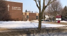 Sir Arthur Carty Catholic School in London, Ont. is seen on Monday, March 8, 2021. (Sean Irvine / CTV News)