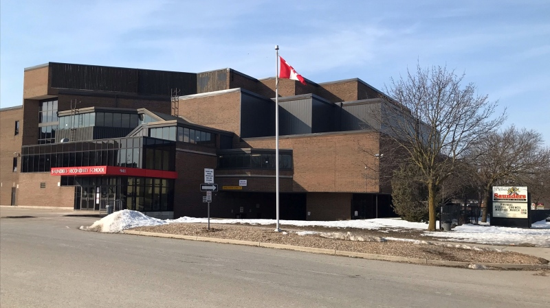 Saunders Secondary School in London, Ont. is seen Monday, March 8, 2021. (Sean Irvine / CTV News)