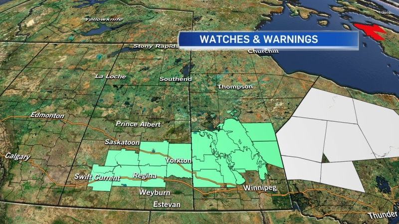 Snowfall warnings are in effect through areas of southern Sask.