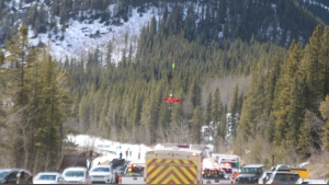 An injured hiker was flown from a location along Prairie Creek Trail in Kananaskis to an awaiting ambulance on Sunday afternoon. (photo courtesy: Sue Austin)