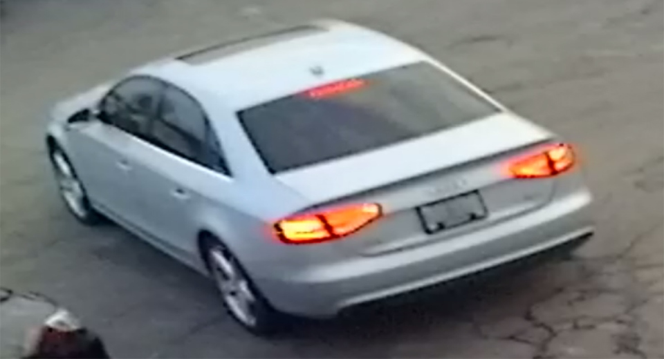 A silver Audi sought in connection with a vehicle theft investigation is seen in this image released by the London Police Service.