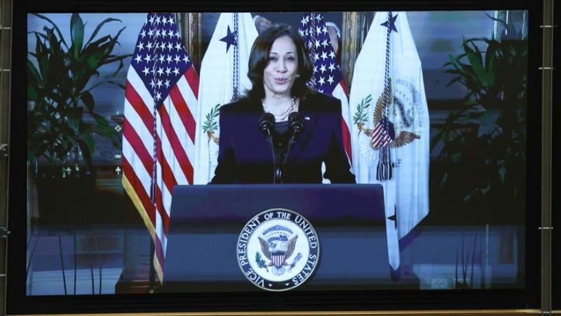 U.S. Vice President Kamala Harris, addressing European MPs via video link on International Women's Day. (AFP)