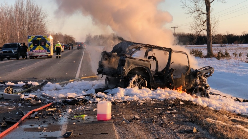 A head-on crash in Huron County south of Goderich, Ont. on Sunday, March 7, 2021. (Source: @OPP_WR / Twitter)
