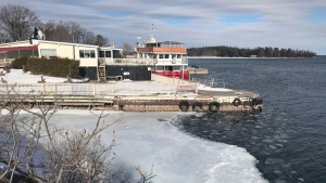 The Rockport, Ont. boat launch. The RCMP say a constable rescued a woman who had plunged into the St. Lawrence River from the dock on March 4, 2021. (Photo submitted by the Royal Canadian Mounted Police)