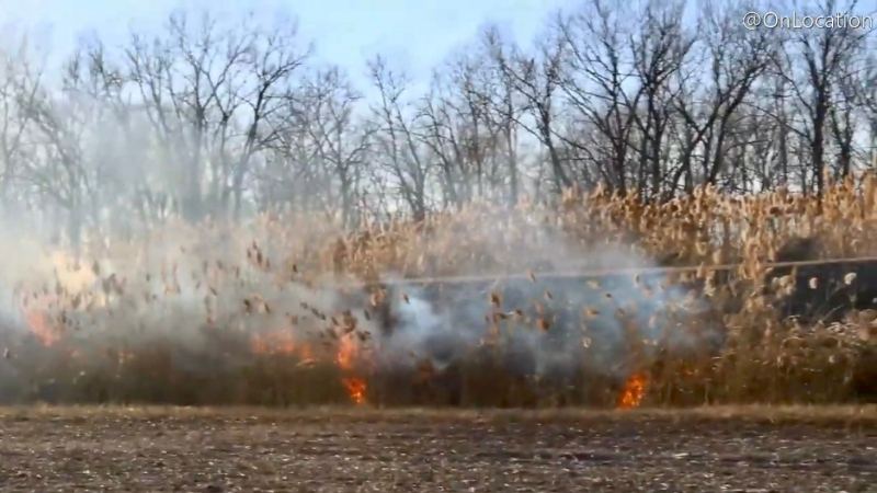 Chatham-Kent fire crews were called to Dashweel Road Saturday, March 7 , 2021 for a bush fire. (courtesy OnLocation)