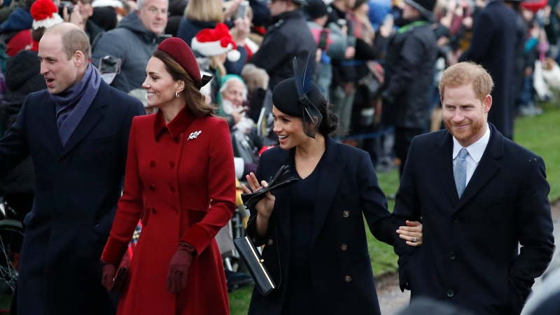 In this Tuesday, Dec. 25, 2018 file photo, Prince William, left, Kate, Duchess of Cambridge, second left, Meghan Duchess of Sussex and Prince Harry, right, arrive to attend the Christmas day service at St Mary Magdalene Church in Sandringham in Norfolk, England. (AP PhotoFrank Augstein)