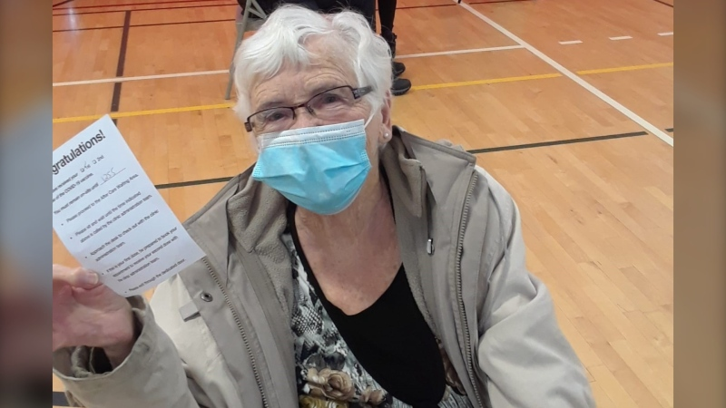 Barb Elcome after receiving her first shot of a COVID-19 vaccine in Innisfil, Ont. on Mon. March 8, 2021 (Supplied)