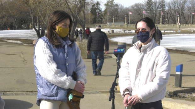 Mya Bilinski Templeton (left) and Megan Krall (right) talk about life before the pandemic reached Saskatchewan.