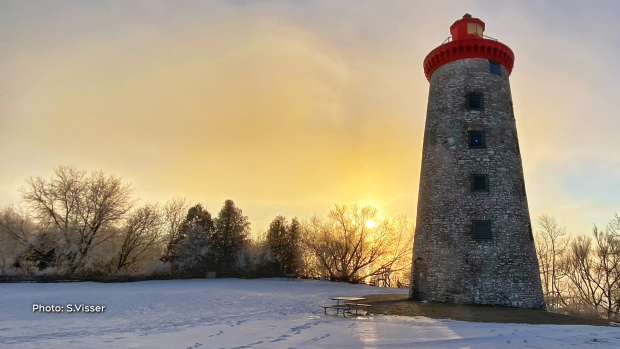Battle of the Windmill Historic Site on a cold, frosty and foggy morning on the edge of The St Lawrence River near Prescott, Ont. (S. Visser/CTV Viewer)