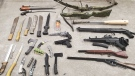 Weapons seized by police following a search warrant in Cambridge (Supplied: WRPS)