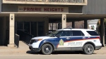 Saskatoon police continue to secure a section of Prairie Heights condominium after a fatal stabbing on March 5. (Francois Biber/CTV Saskatoon)