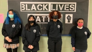 Students at Notre Dame Catholic High School in Ottawa created Black Lives Matter clothing that the school says can be worn as part of its uniform. (Photo submitted by Notre Dame Catholic High School)