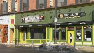 Donaleigh's Irish Pub in downtown Barrie on Mon. March 8, 2021. (Craig Momney/CTV News)