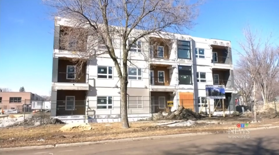 An apartment block is being built in Transcona using a process called the modular method. Construction is seen here on March 8, 2021. (Source: Mike Arsenault/ CTV News Winnipeg)