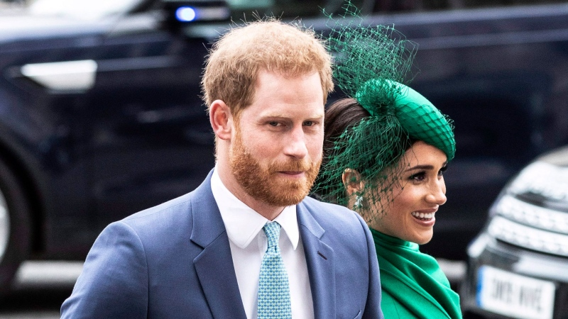 Prince Harry and Meghan Duchess of Sussex arrive to attend the annual Commonwealth Service at Westminster Abbey in London Monday March 9, 2020. (Richard Pohle / Pool via AP)