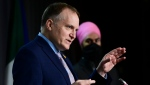 NDP member of Parliament Peter Julian and NDP leader Jagmeet Singh hold a press conference on Parliament Hill in Ottawa on Wednesday, Nov. 18, 2020. (THE CANADIAN PRESS/Sean Kilpatrick)