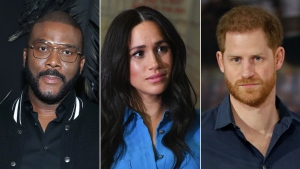 During the CBS interview that aired Sunday night, the Duke and Duchess of Sussex detailed their relocation to Canada and later to California where they now live -- and the role Perry played in their move. (Getty Images)