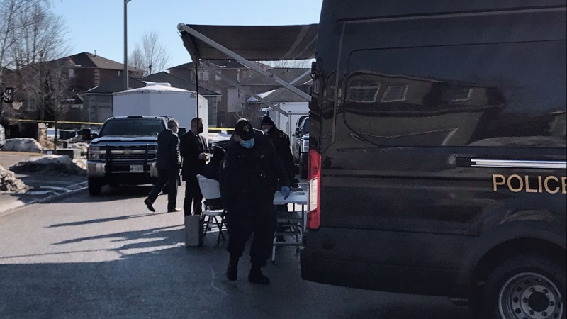 A large OPP presence in seen in a residential area in Barrie, Ont. on Tuesday, March 9, 2021. (CTV Barrie)