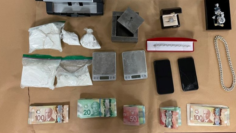 Drugs and other items seized during a London police search warrant on March 5, 2021. (Supplied)