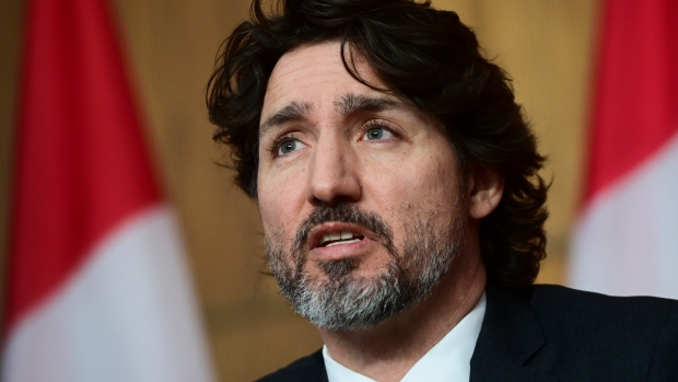 Prime Minister Justin Trudeau holds a press conference in Ottawa Tuesday, March 9, 2021. THE CANADIAN PRESS/Sean Kilpatrick