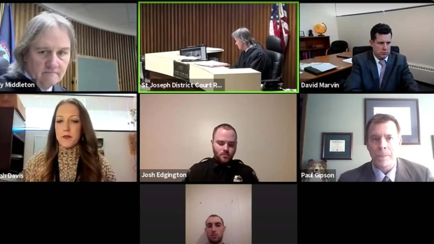 Coby James Harris, 21, appeared in court via Zoom after being charged with assault with intent to commit bodily harm. (Judge Jeffrey Middleton/YouTube)