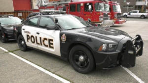 A Victoria police car is seen parked behind Esquimalt's Public Safety Building: (CTV News)