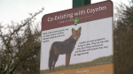 Coyote sign in Stanley Park