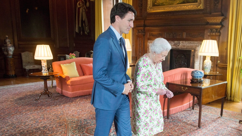 Prime Minister Justin Trudeau meets Queen Elizabeth at Holyrood Palace, her official residence, in Edinburgh on Wednesday, July 5, 2017. THE CANADIAN PRESS/Ryan Remiorz