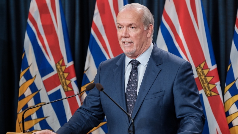 B.C. Premier John Horgan announces funding for intercity bus transportation and regional airports amid the COVID-19 pandemic on March 9, 2021. (B.C. government/Flickr)