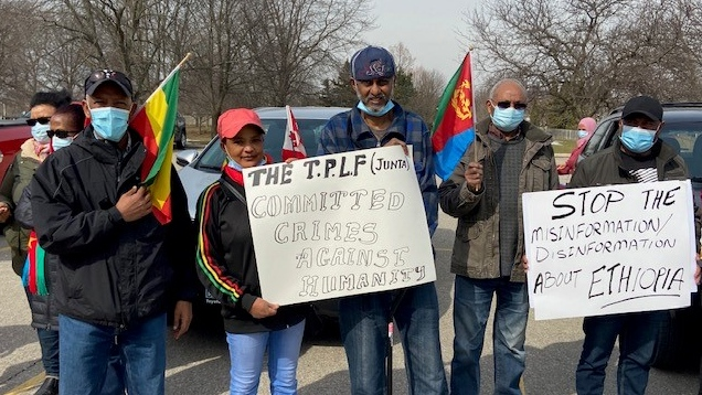 The Ethiopian Association of London rallies in London, Ont. on Wednesday, March 10, 2021. (Steve Young / CTV News)