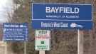 The sign for Bayfield, Ont. is seen on Wednesday, March 10, 2021. (Scott Miller/CTV News)