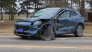 Three people suffered injuries in a two vehicle crash near Lucan, Ont. on Thursday, March 11, 2021. (Gerry Dewan / CTV London)