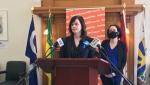 NDP Health Critic Vicki Mowat speaks to the media on March 11, 2021. (Stefanie Davis/CTV News)
