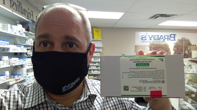 Essex County pharmacist Tim Brady displays AstraZeneca vaccine on Thursday, March 11, 2021. (Courtesy Tim Brady)