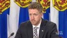 Nova Scotia Premier Iain Rankin speaks at a COVID-19 media briefing in Halifax on March 12, 2021.