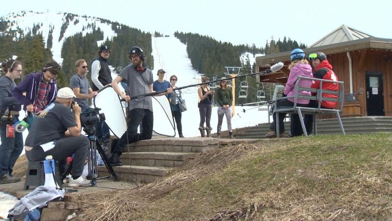 A Hallmark movie is seen being filmed on Mount Washington, Vancouver Island: (CTV News)