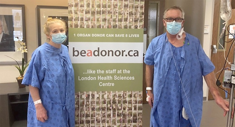 Bonnie O'Reilly and Graham Nesbitt pose as they recover in hospital in London, Ont.