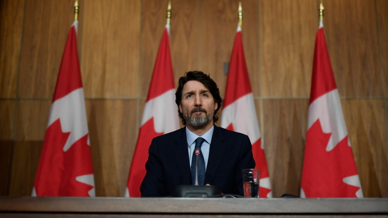 Prime Minister Justin Trudeau participates in a news conference on the COVID-19 pandemic in Ottawa, Friday, March 12, 2021. THE CANADIAN PRESS/Justin Tang