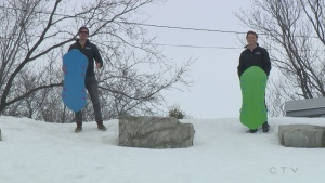 Will and Josh have some tobogganing fun in Sudbury