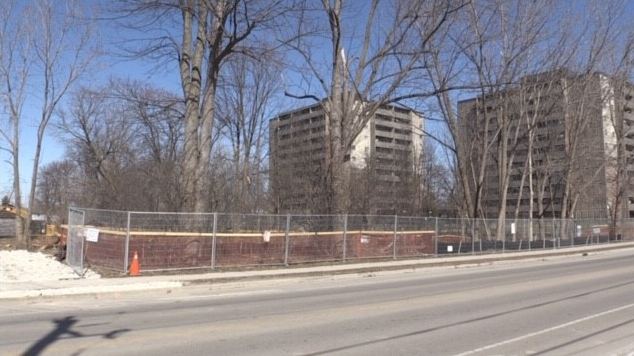 A new affordable housing development will be built at 122 Baseline Rd. W. in London, Ont., as seen Friday, March 12, 2021. (Daryl Newcombe / CTV News)