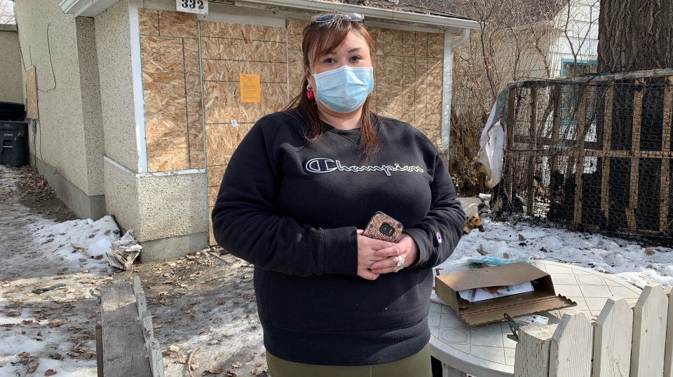 Farrah Cyr says her family lost everything in a house fire. (Nicole Di Donato/CTV Saskatoon)