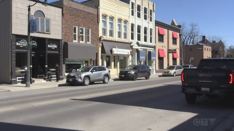Downtown Petrolia, Ont. on March 13, 2021. (Brent Lale/CTV London)